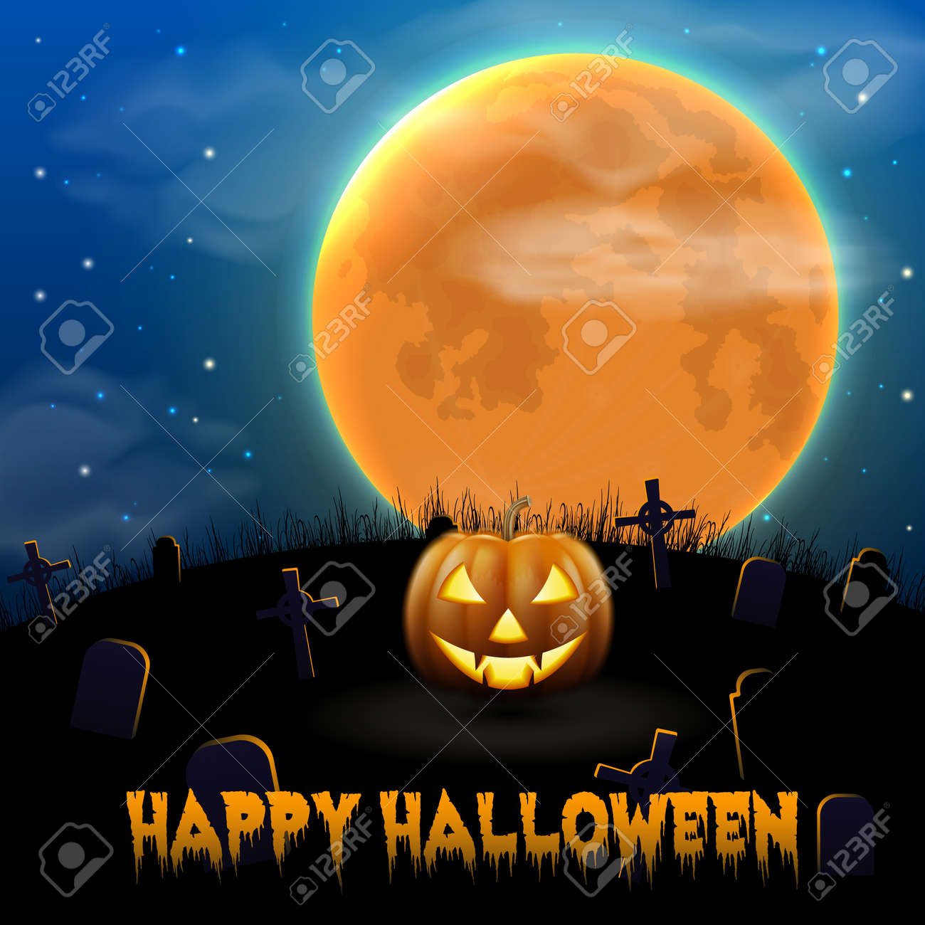 Happy Halloween night background with scary old graveyard and pumpkin - 109145042