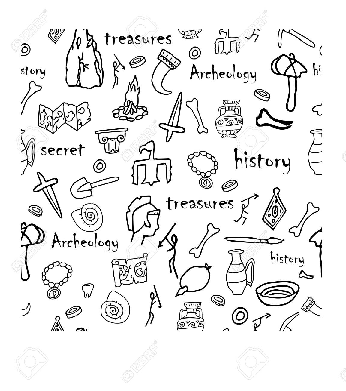 Doodle archeology, history seamless pattern in black and white colours stock vector illustration. Education, explore, research idea. Grunge hand drawn elements. - 147947328
