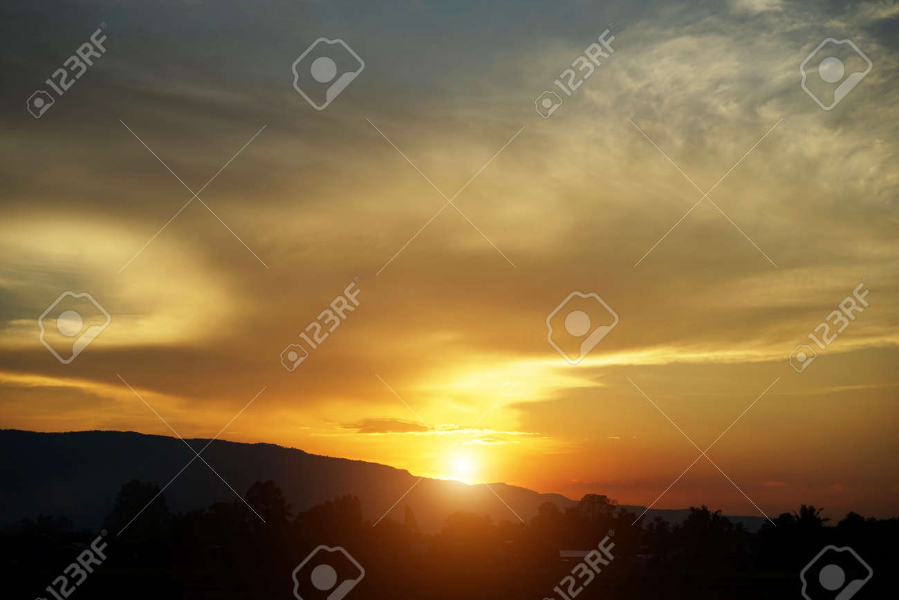Beautiful clouds and golden sky. The beautifu sky with Sunset background. - 146517885