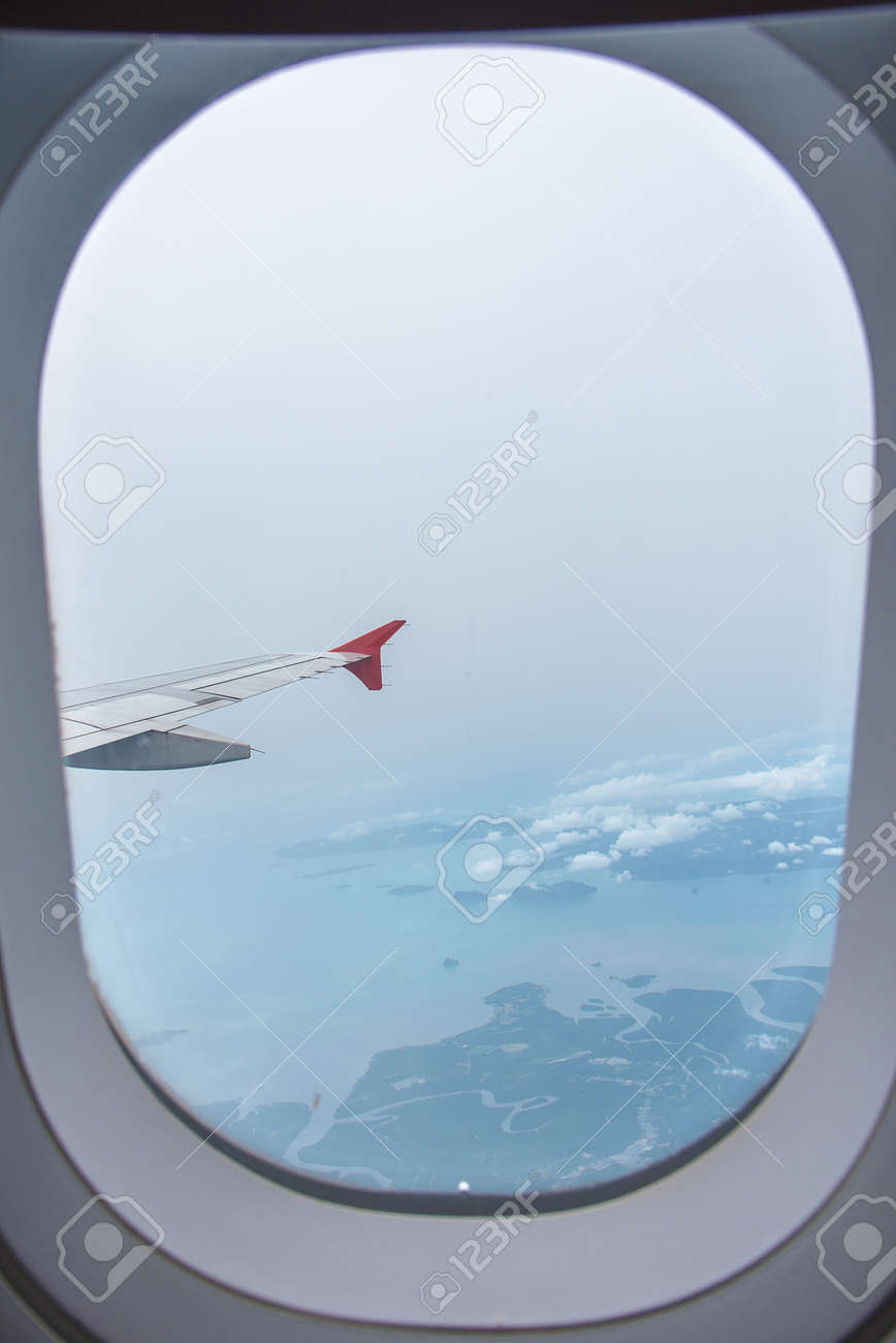 Airplane Window Seat Travel Background Stock Photo Picture And