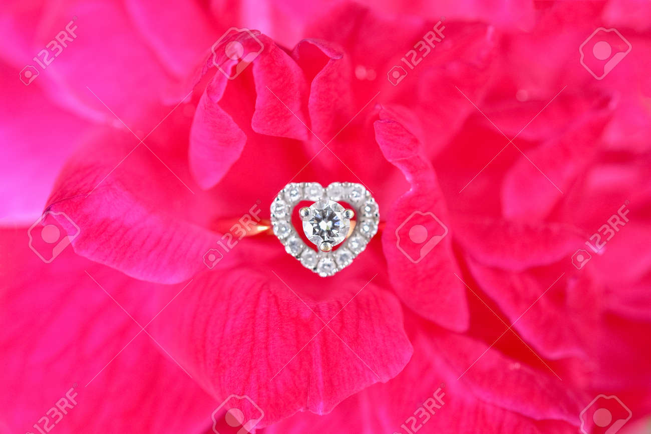 Heart Shaped Diamond Ring With Pink Rose, Valentine Day, Wedding ...