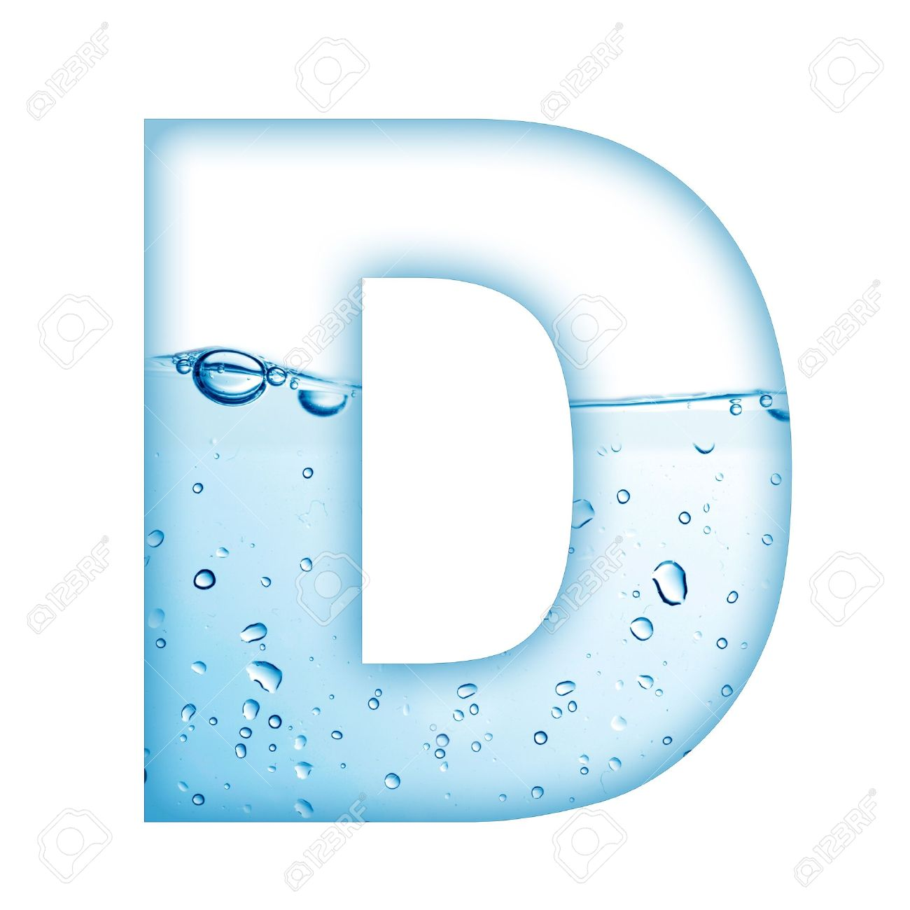 Alphabet Letter Made From Water And Bubble D Stock Photo