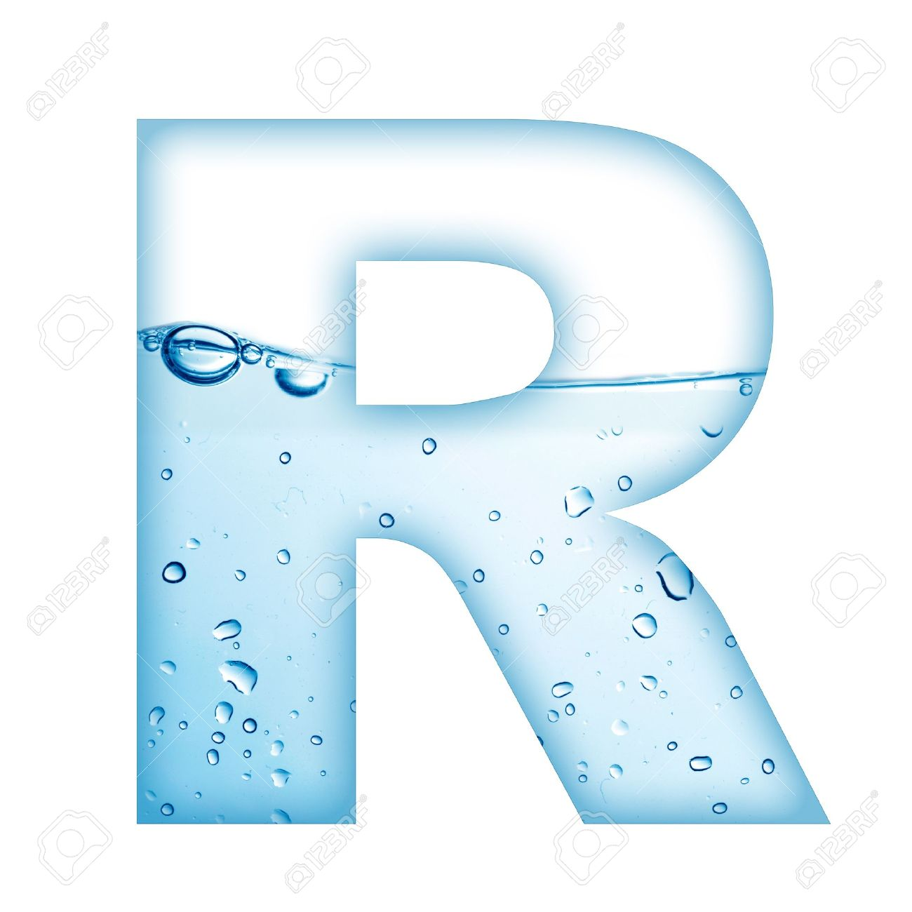 Alphabet Letter Made From Water And Bubble Letter R Stock Photo