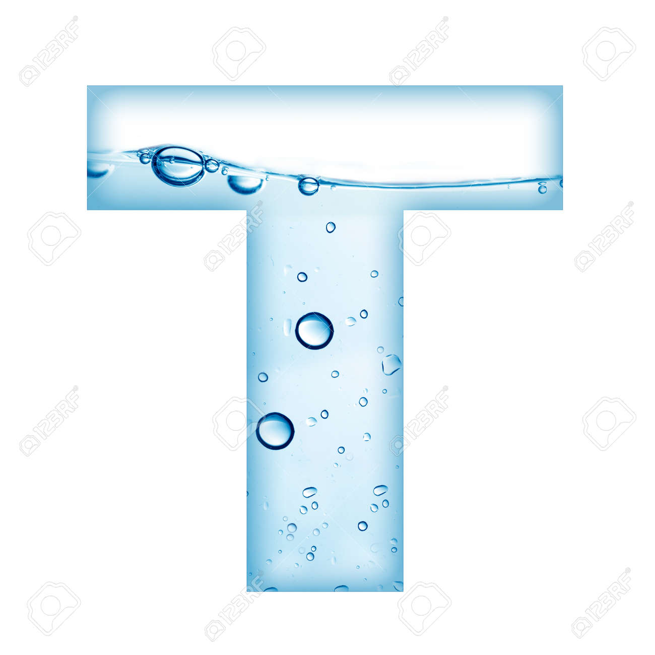 alphabet letter made from water and bubble letter t stock photo