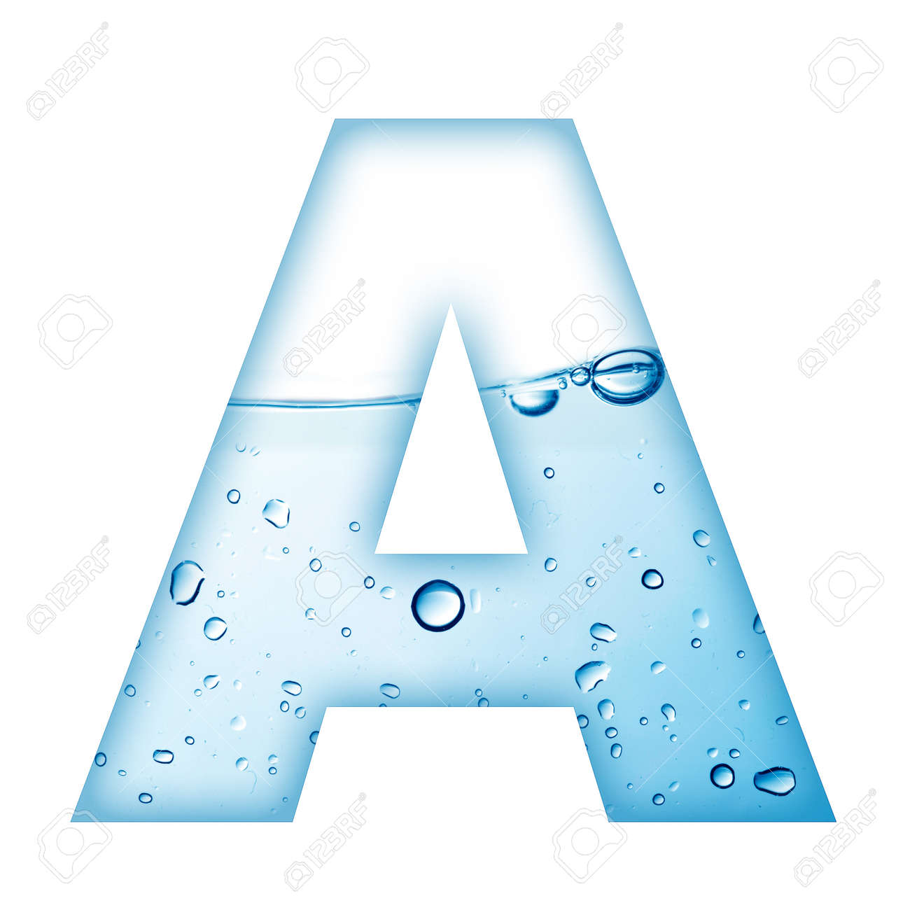 Alphabet Letter Made From Water And Bubble Letter A Stock