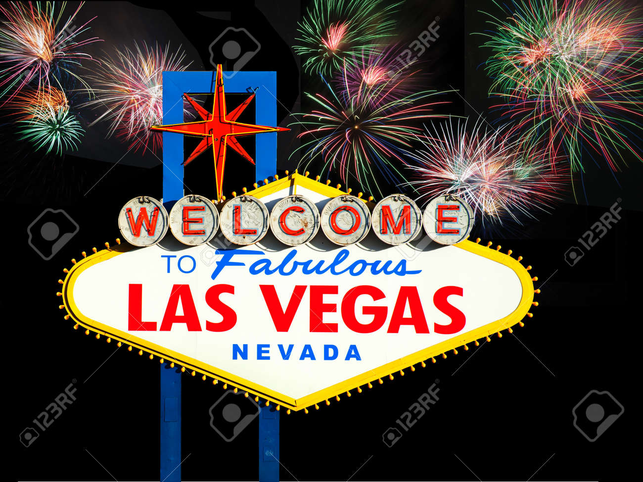 stock photo welcome to las vegas sign with fireworks in the background