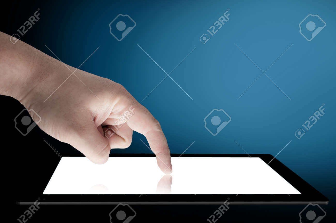 Businessman touch tablet PC screen Stock Photo - 13156810