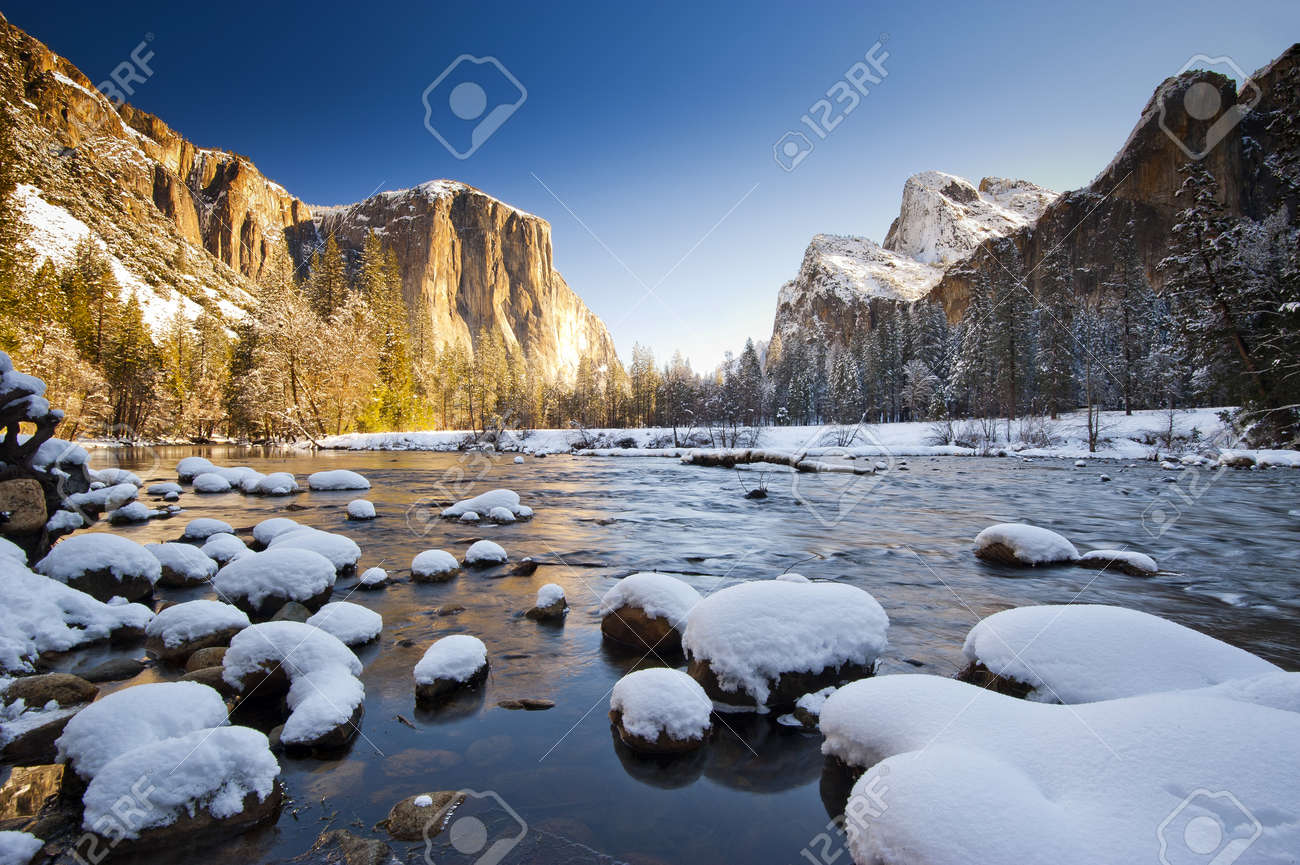 Yosemite National Park in Winter Valley View at sunrise Stock Photo - 13066258