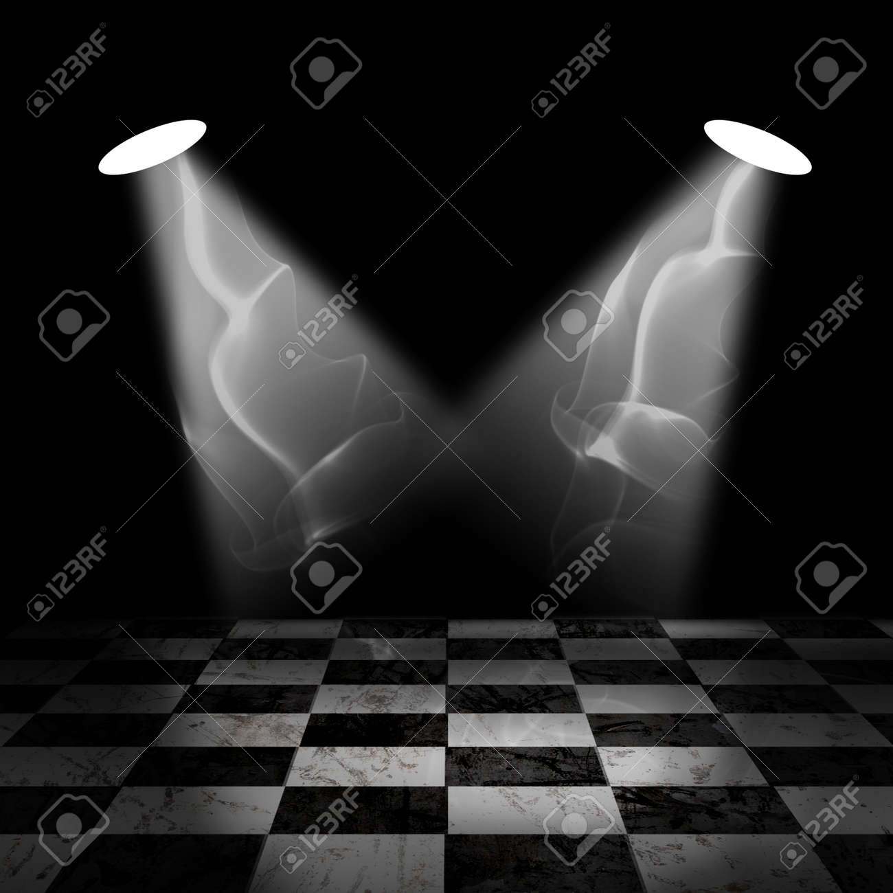 Black And White Check Grunge Room with spotlight and smoke Stock Photo - 13366148