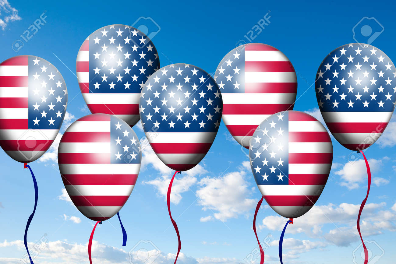 Independence Day, 4th of July, with american flag balloon Stock Photo - 13791766