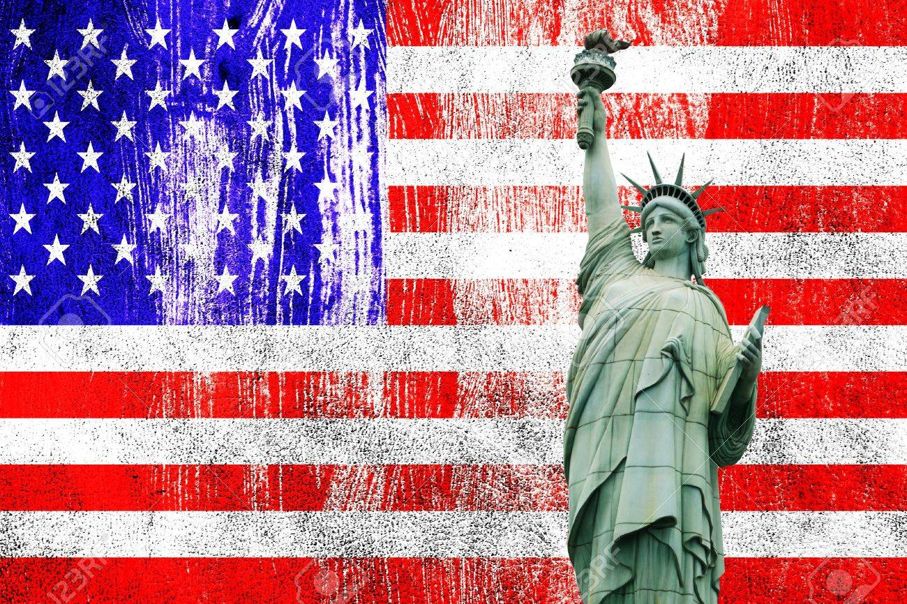 Independence Day, 4th of July, with american flag and statue of liberty Stock Photo - 13791774