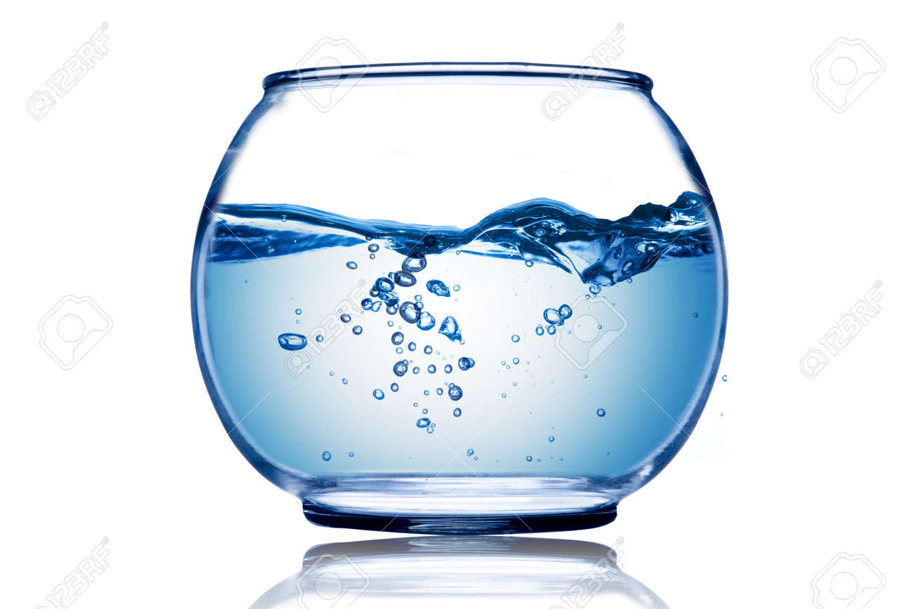 Water wave and water bubble inside the fish bowl Stock Photo - 15830428