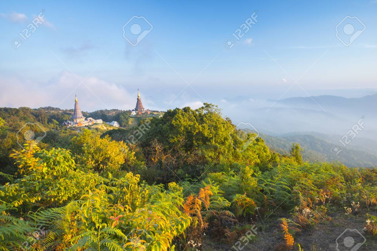Thai Temple on North part of Thailand, Doi Inthanon Stock Photo - 17106706
