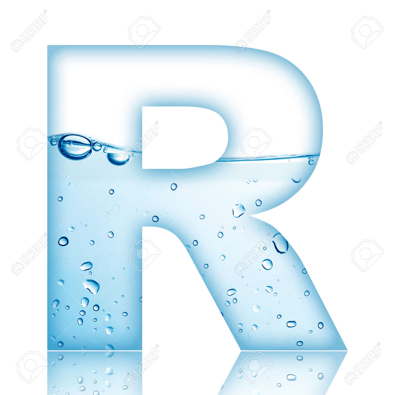 Water And Water Bubble Alphabet Letter With Reflection Letter