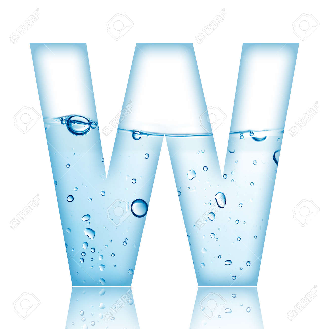 Water And Bubble Alphabet Letter With Reflection