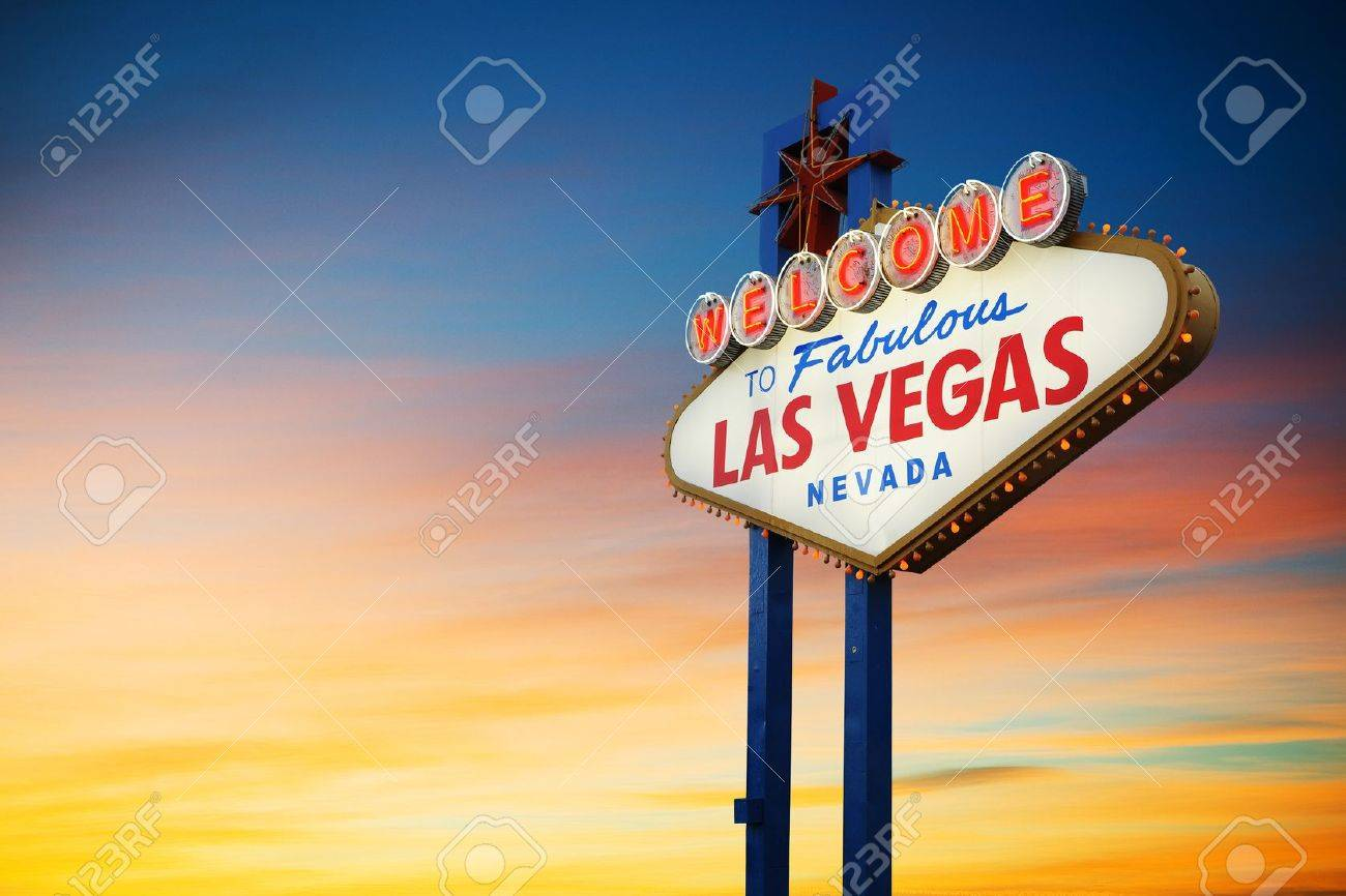 Welcome To Las Vegas neon sign at sunset Nevada, USA - 20583152