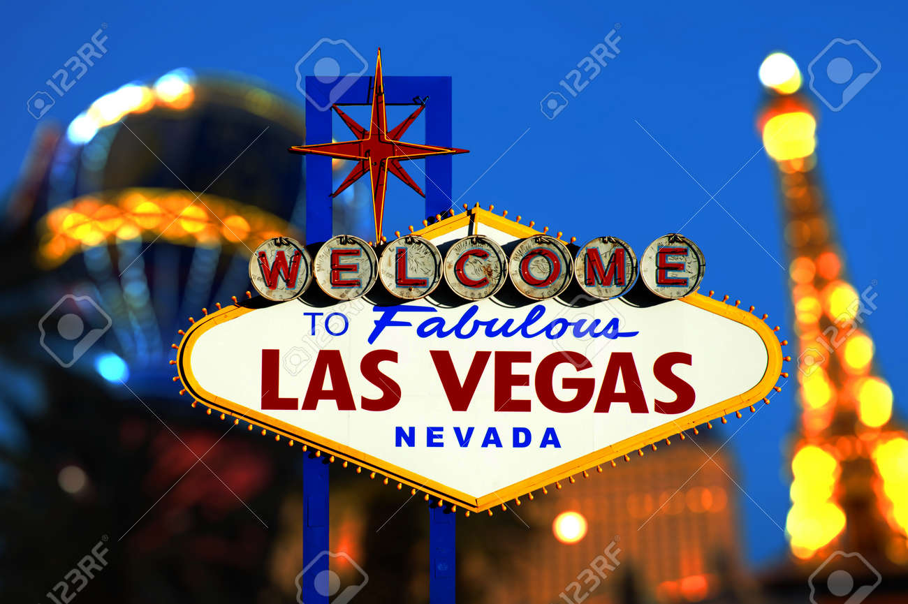 Welcome To Las Vegas neon sign with bokeh of light  Nevada, USA Stock Photo - 20582973
