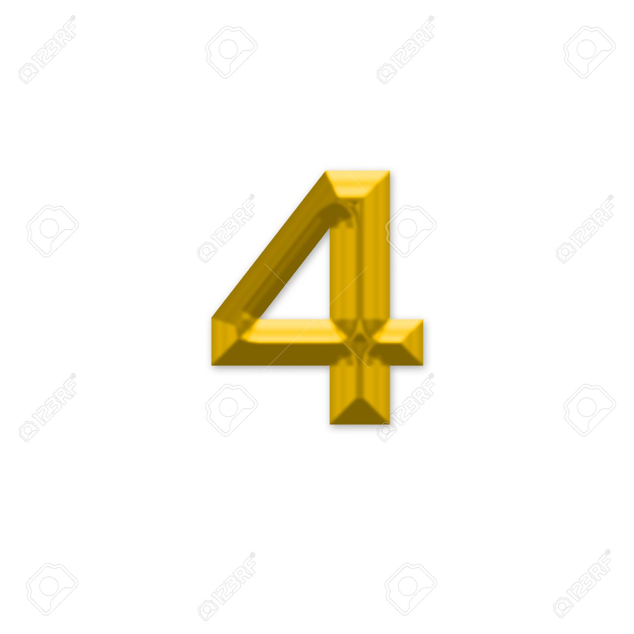 The Number 4, In The Number Alphabet Set Yellow Gold Color ...