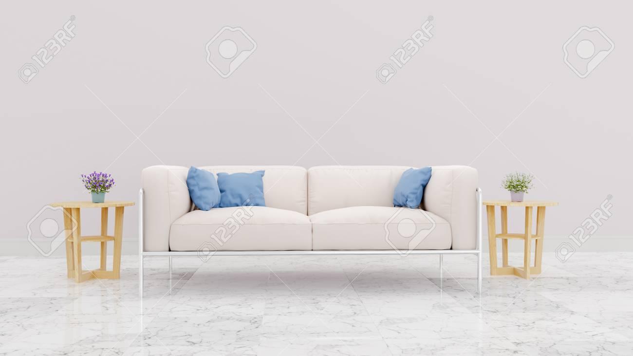 Bright Color Modern Interior Of Living Room,Cloth Sofa ,blue.. Stock ...
