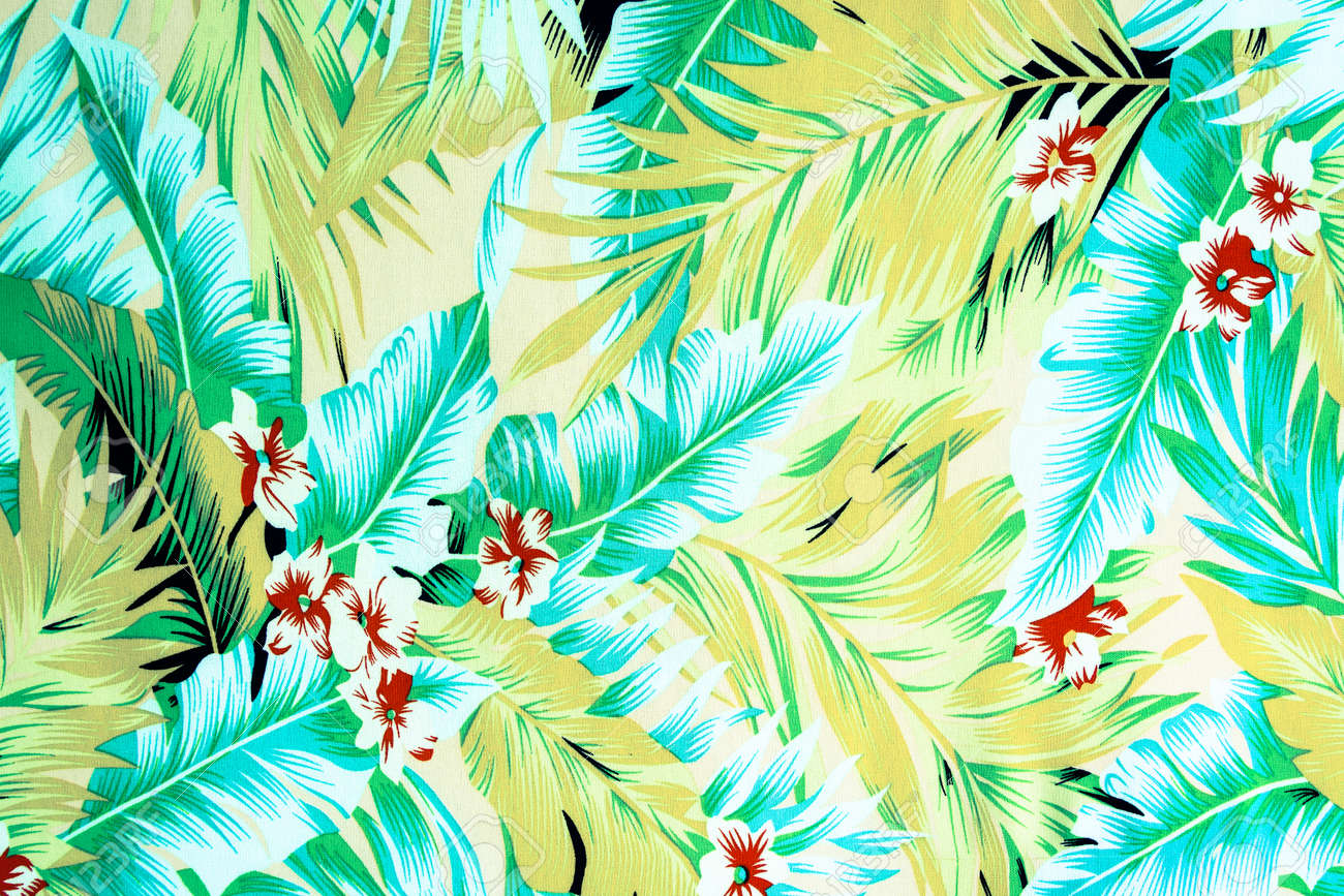 Texture fabric vintage hawaiian flowers and leaves for background stock photo texture fabric vintage hawaiian flowers and leaves for background izmirmasajfo