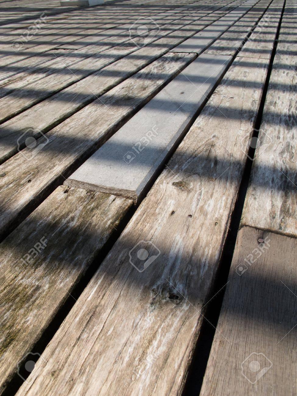 Perspective Of Outdoor-wood -floor In Daytime. Stock Photo ... - ^