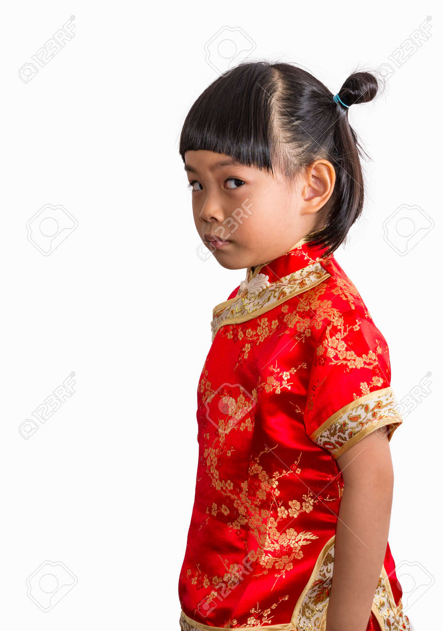 57c6dfb0b Cute Asian little girl in Chinese dress for Chinese New Year theme. Little  girl on