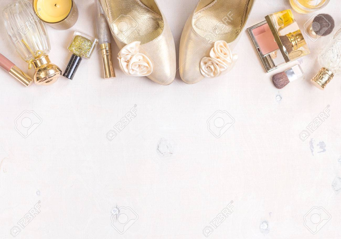 Cosmetic Objects Frame With Gold Heels Gold Glitter Nail Polish