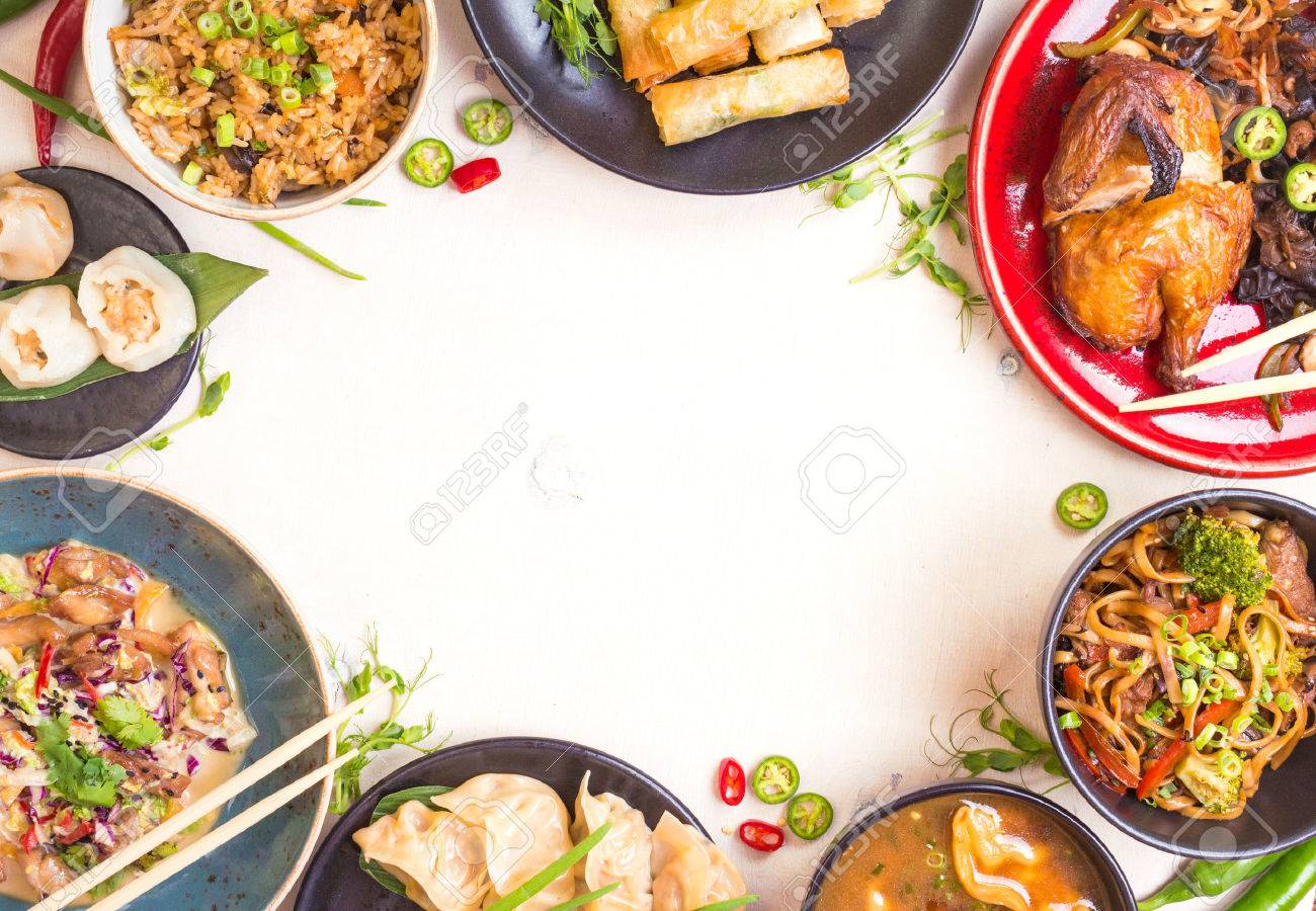 Chinese food white background. Chinese noodles, fried rice, dumplings, peking duck, dim sum, spring rolls. Famous Chinese cuisine dishes set. Space for text. Top view. Chinese restaurant concept - 62444427