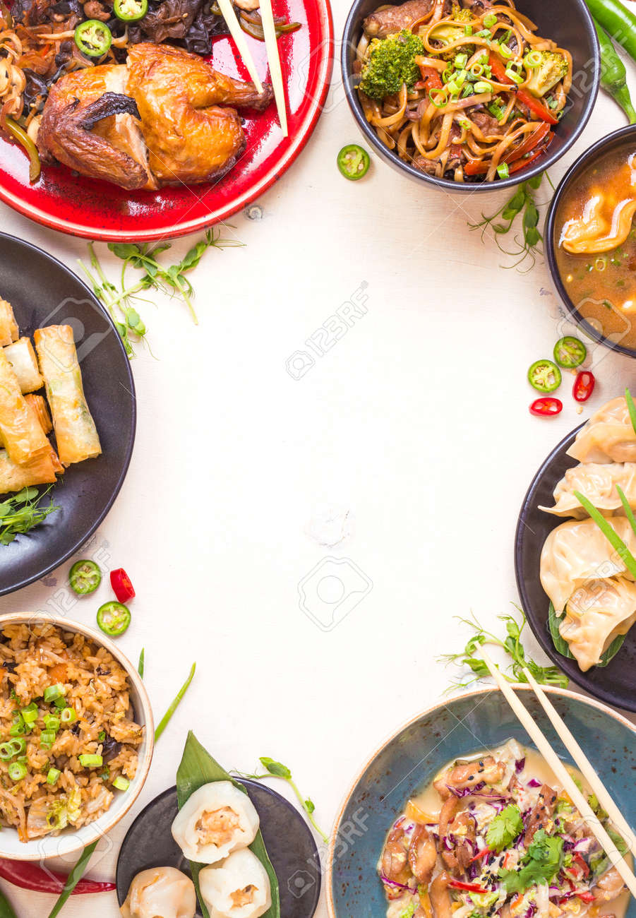 Chinese food white background. Chinese noodles, fried rice, dumplings, peking duck, dim sum, spring rolls. Famous Chinese cuisine dishes set. Space for text. Top view. Chinese restaurant concept - 62444729