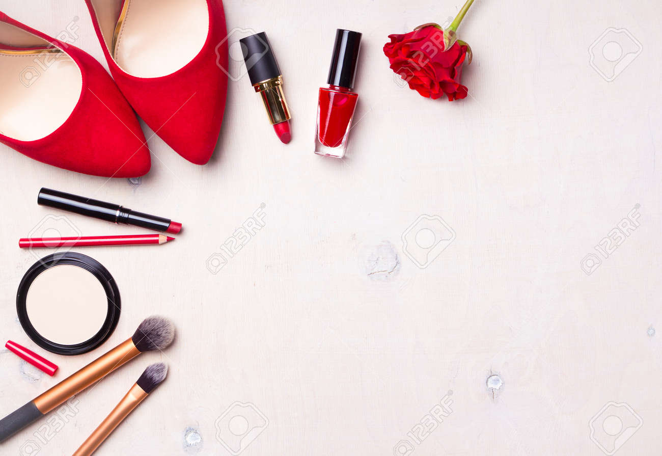 Beauty cosmetic white background. Makeup essentials. Shoes, red lipstick, powder, brushes set. Cosmetic products. Top view. Feminine or fashion background. Cosmetics. Beauty products. Modern woman - 71416965