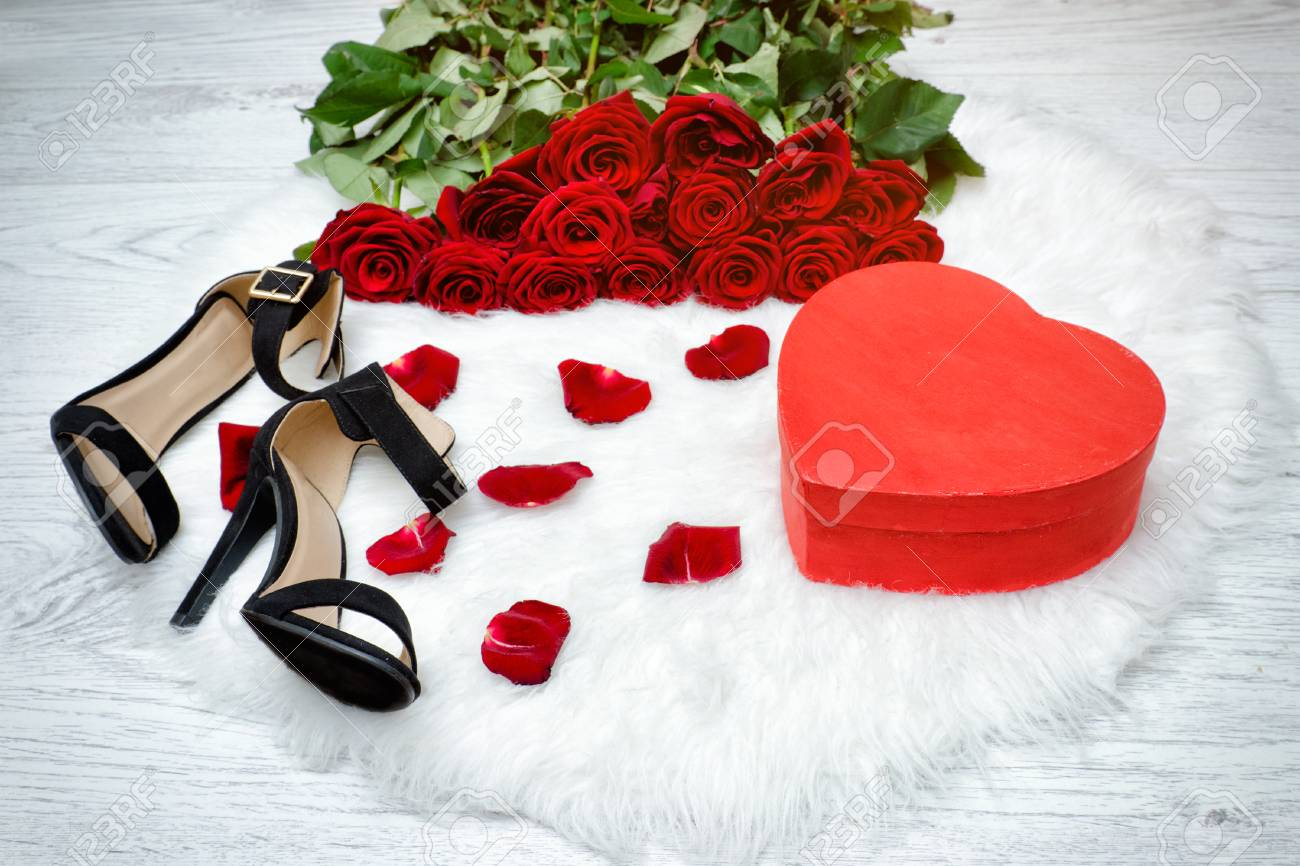 Red Boxes In Heart Shape, Black Shoes