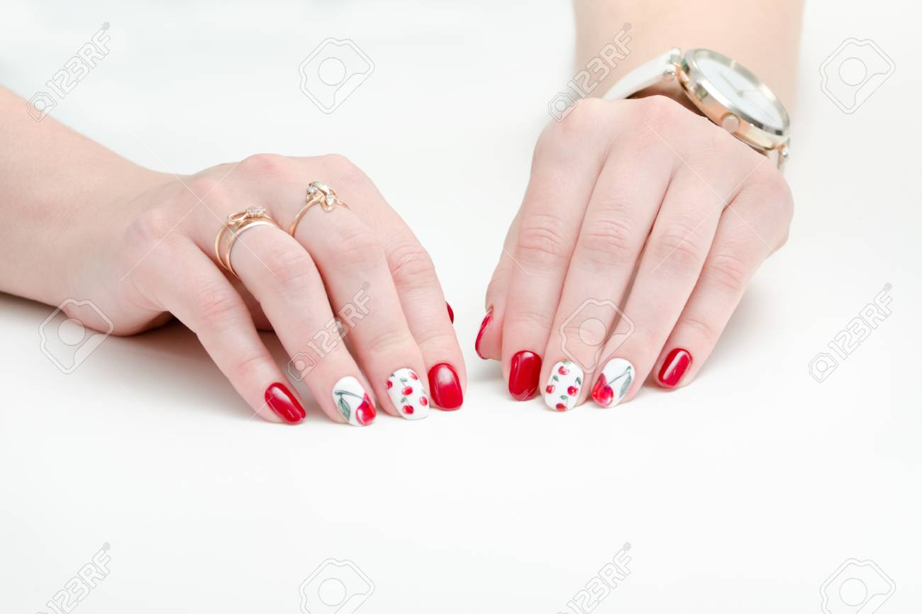 Female Hands With Manicure, Red Nail Polish, Drawing With Cherries ...
