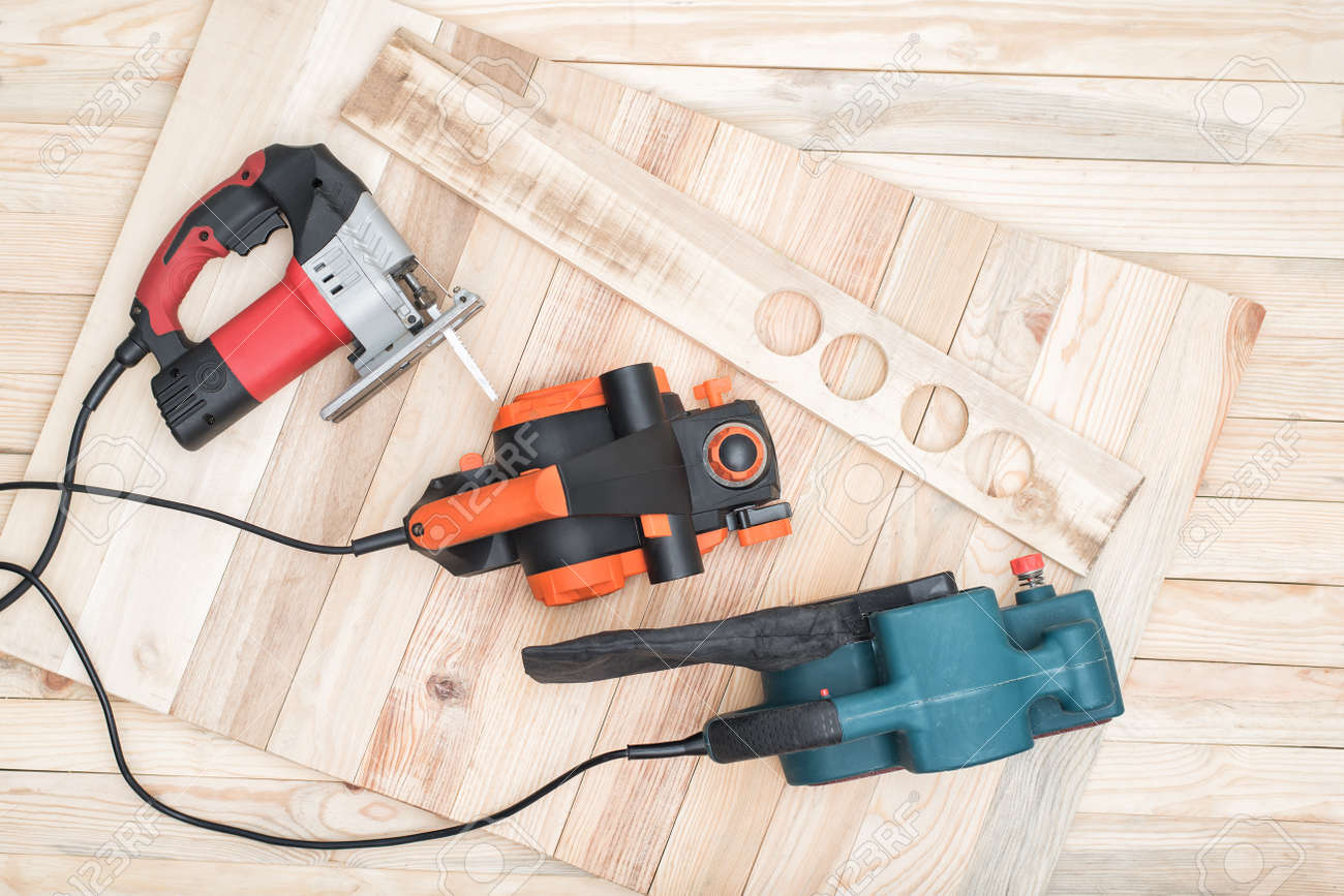Set Of Handheld Woodworking Power Tools For Woodworking And The