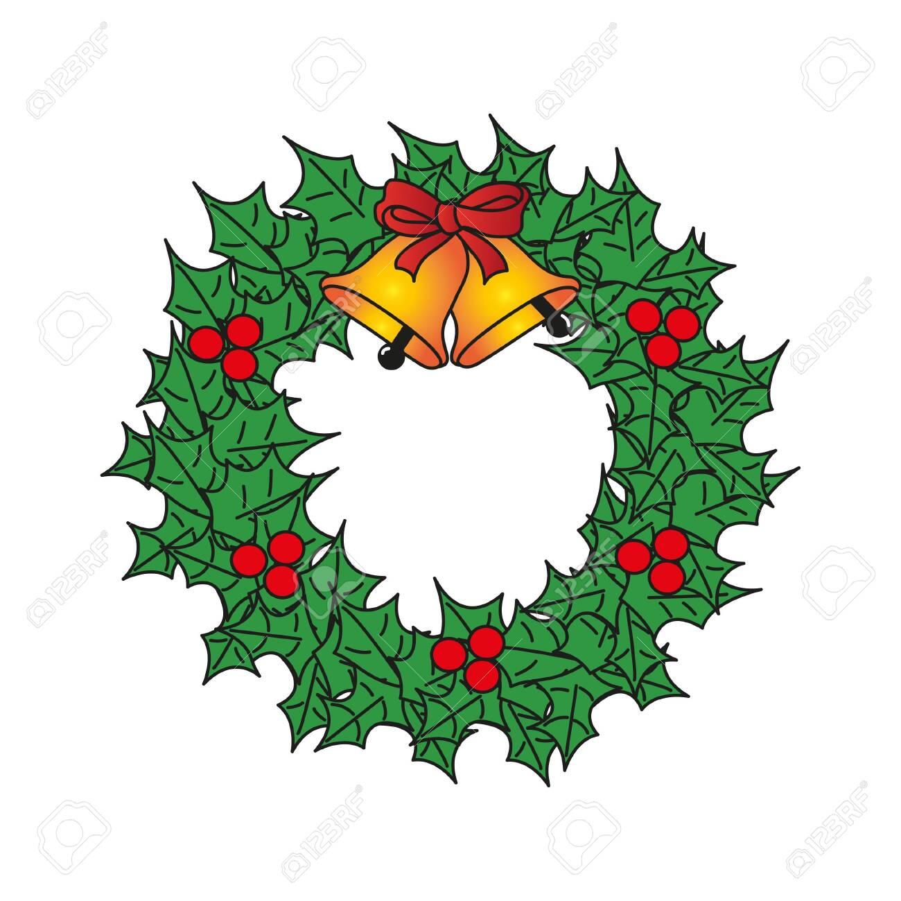 christmas wreath vector - 140456554