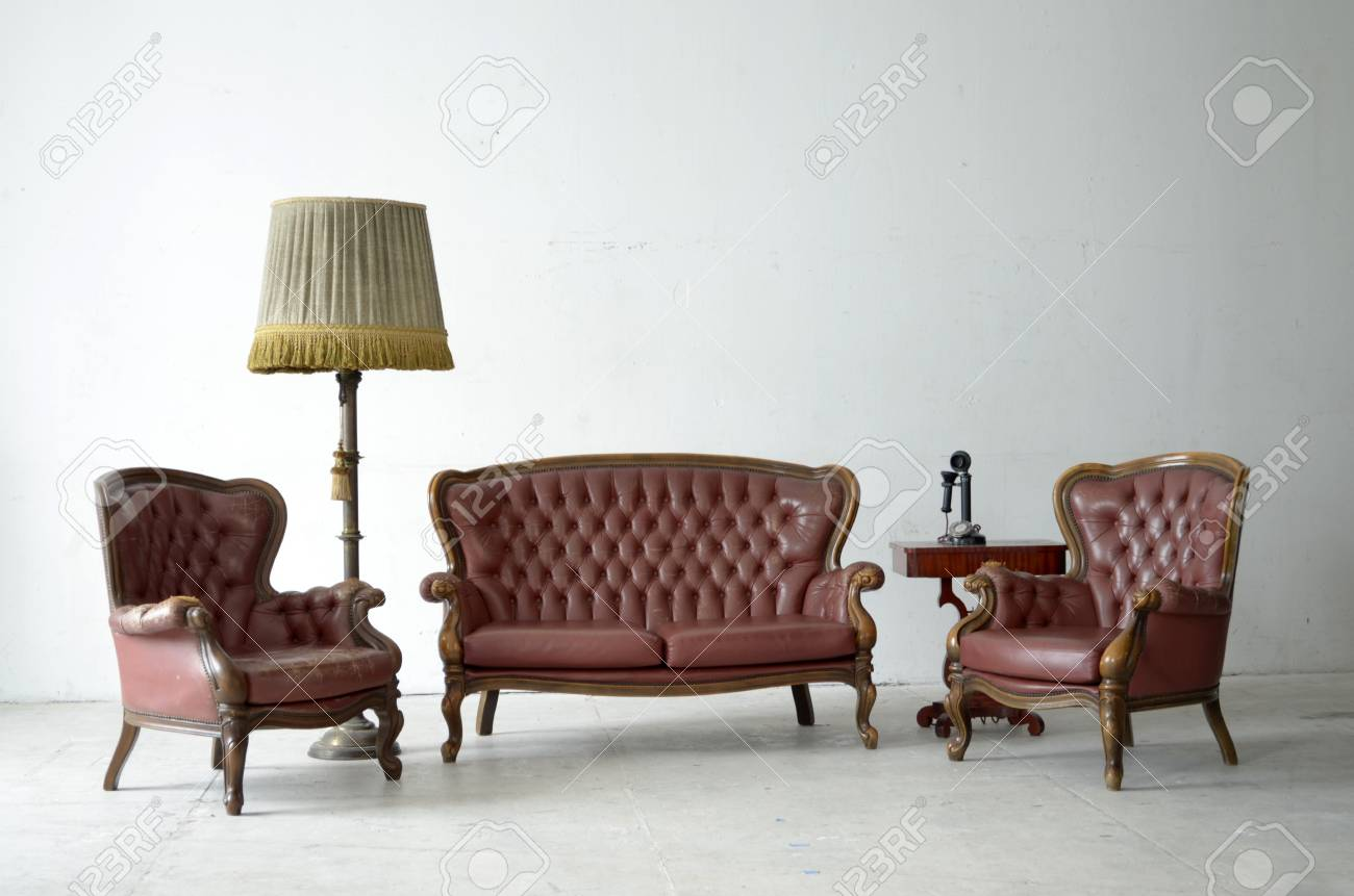 leather sofa in white room Stock Photo - 13924843