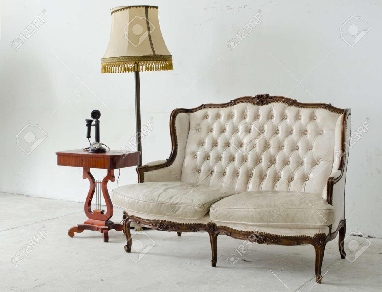 Stock Photo  leather sofa in white room Stock Photo - 13964374