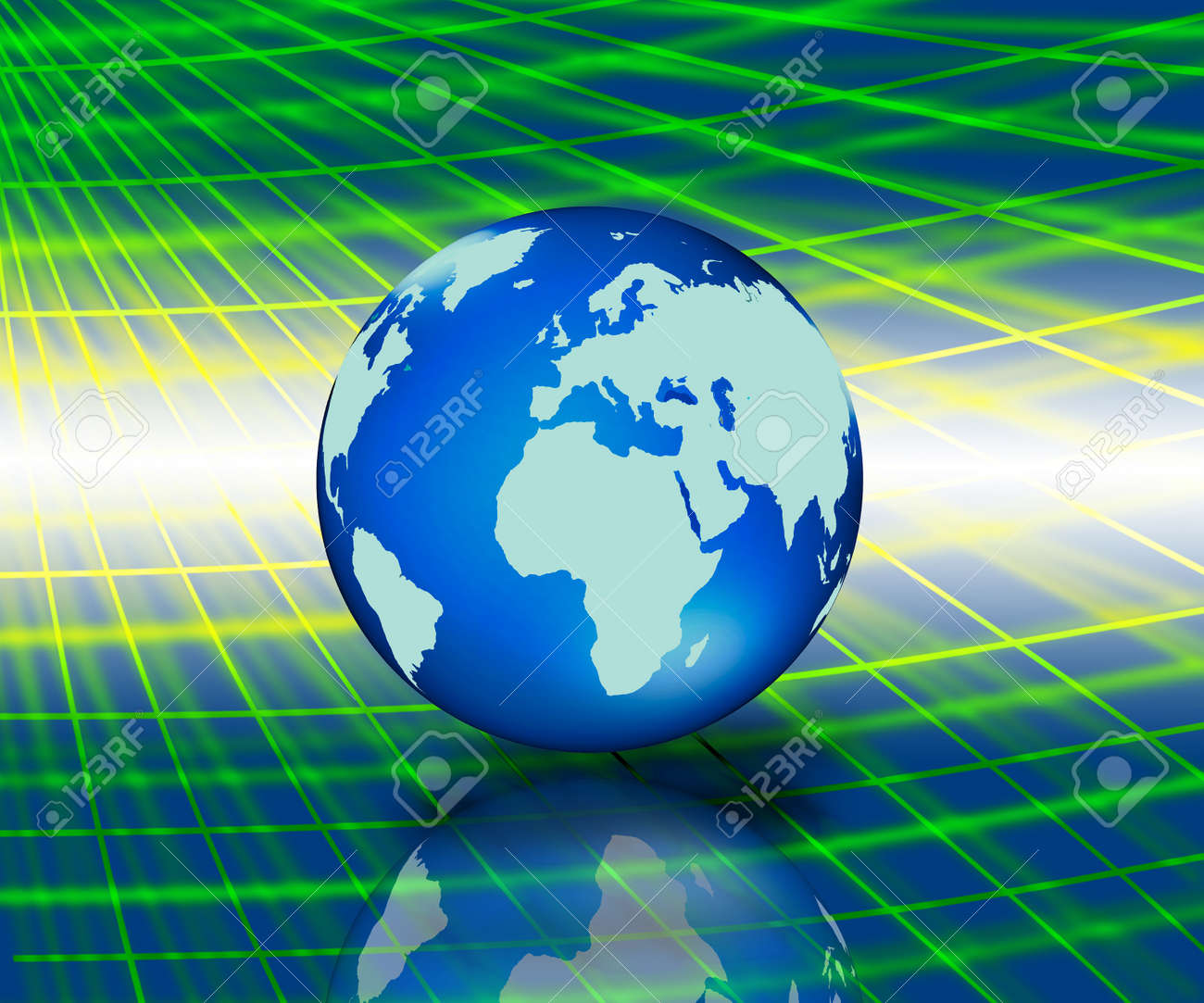 worldl map with blue shinyc abstrace network Stock Photo - 11108768