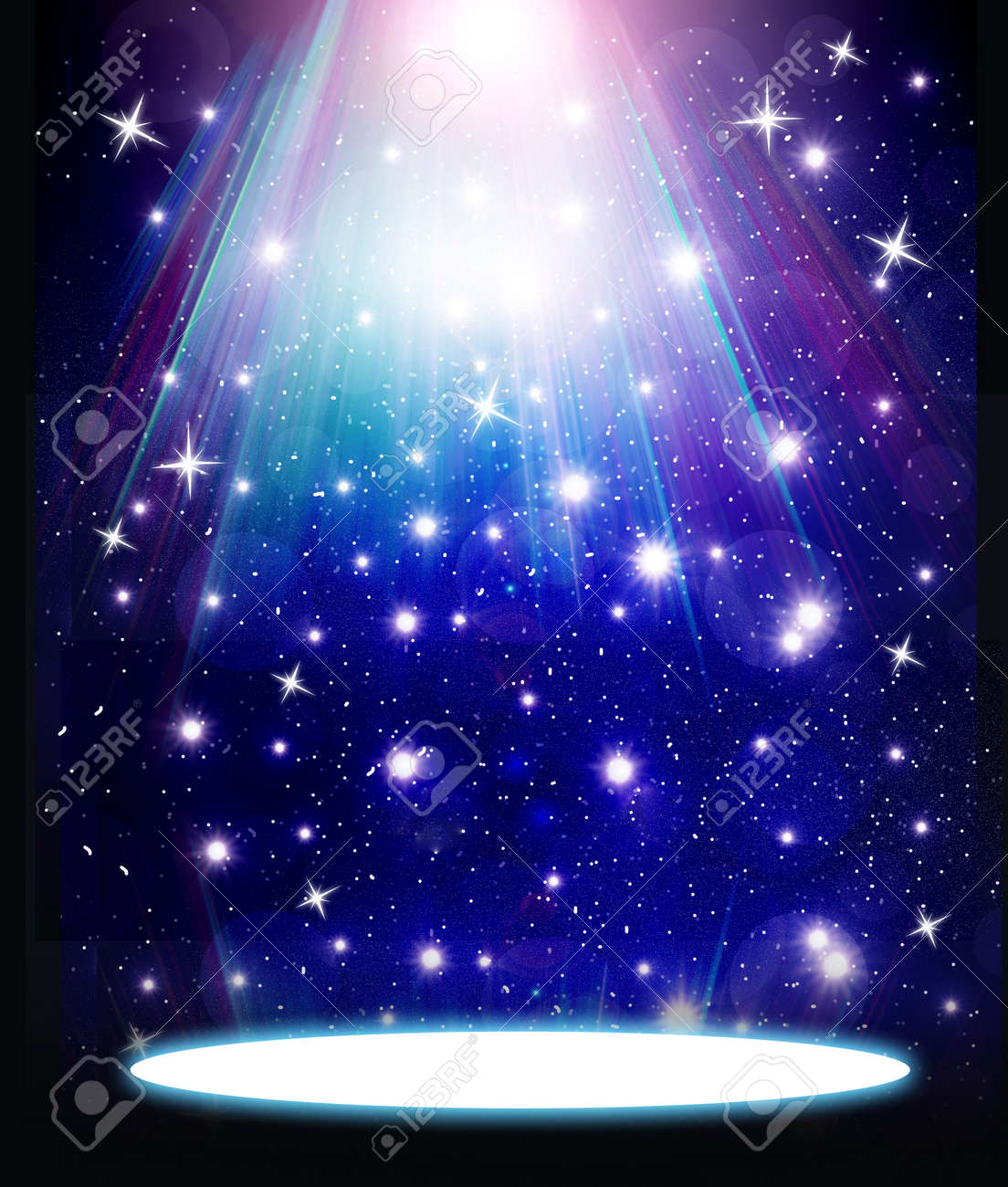 stars are falling on the background of blue luminous rays. Stock Photo - 17005009