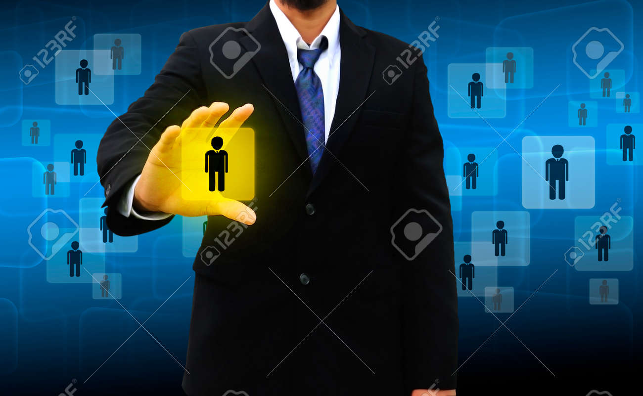 Businessman Choosing the right person Stock Photo - 23039424