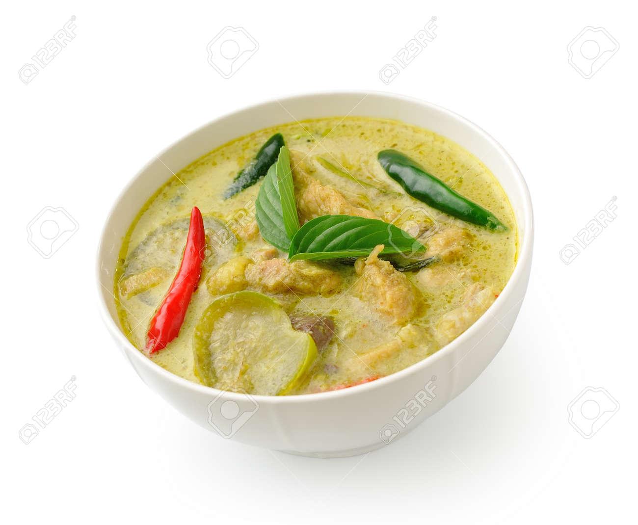 Thai Poulet Au Curry Vert Alimentaire Dans Le Bolw Blanc Sur Fond