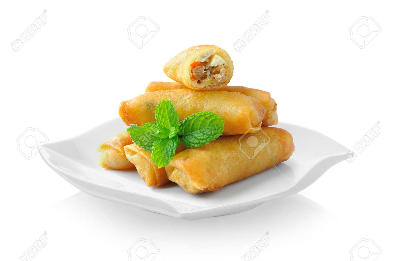 Fried Chinese Traditional Spring rolls food in ceramic plate (beautiful shape) on white background - 83259057