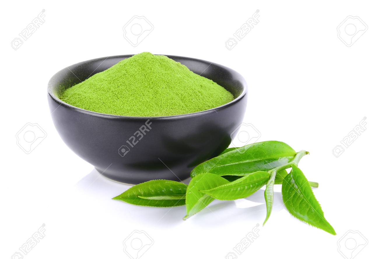 Green tea powder and leaf isolated on white background - 86805476