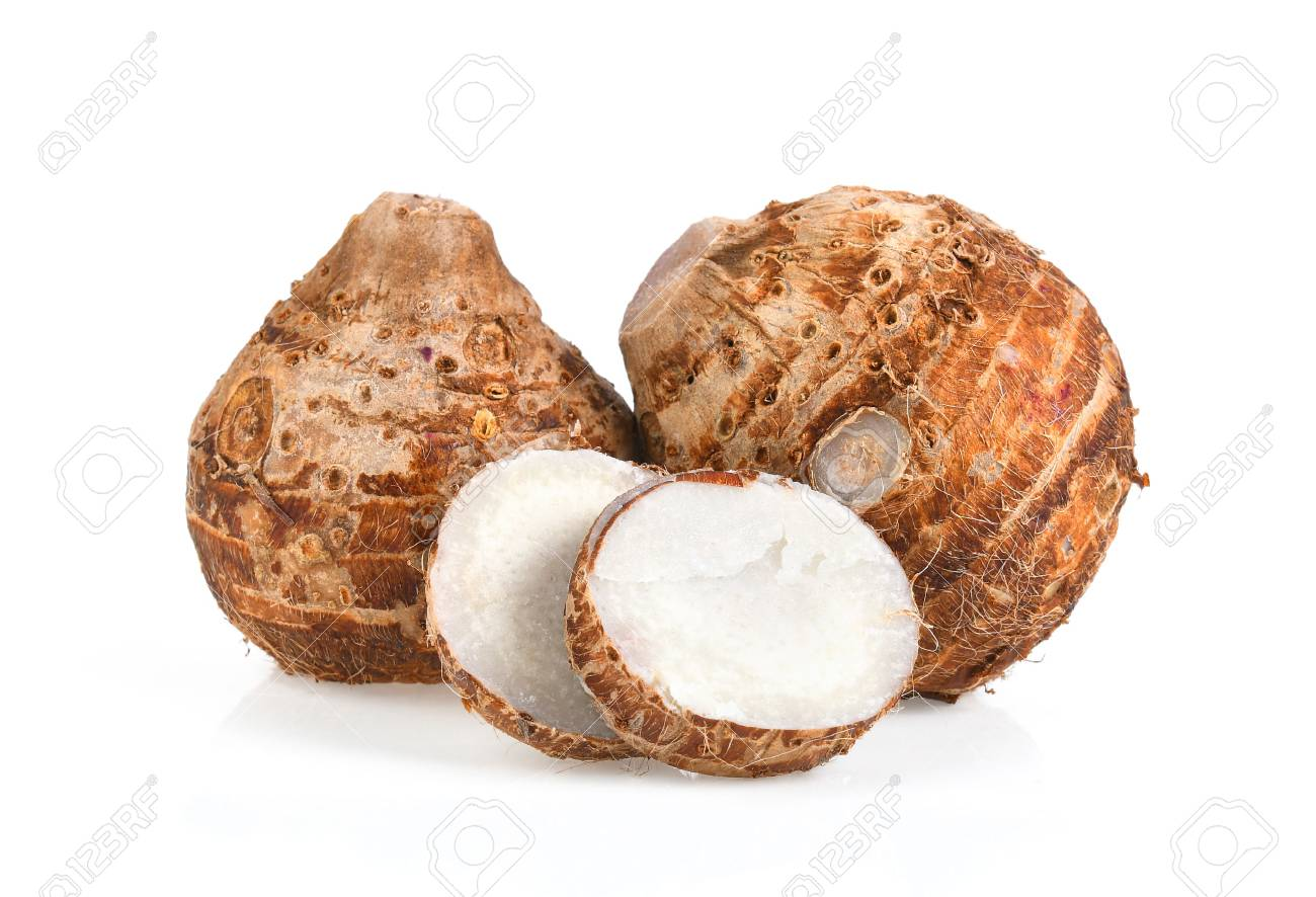sweet taro root isolated on white background - 97904746