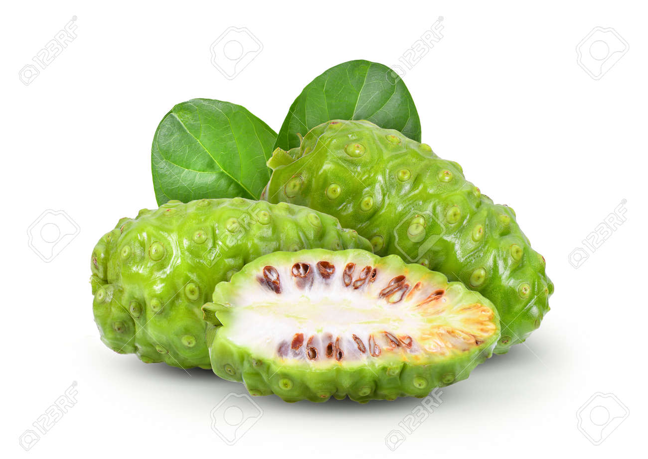 Noni with leaf on white background - 104770733