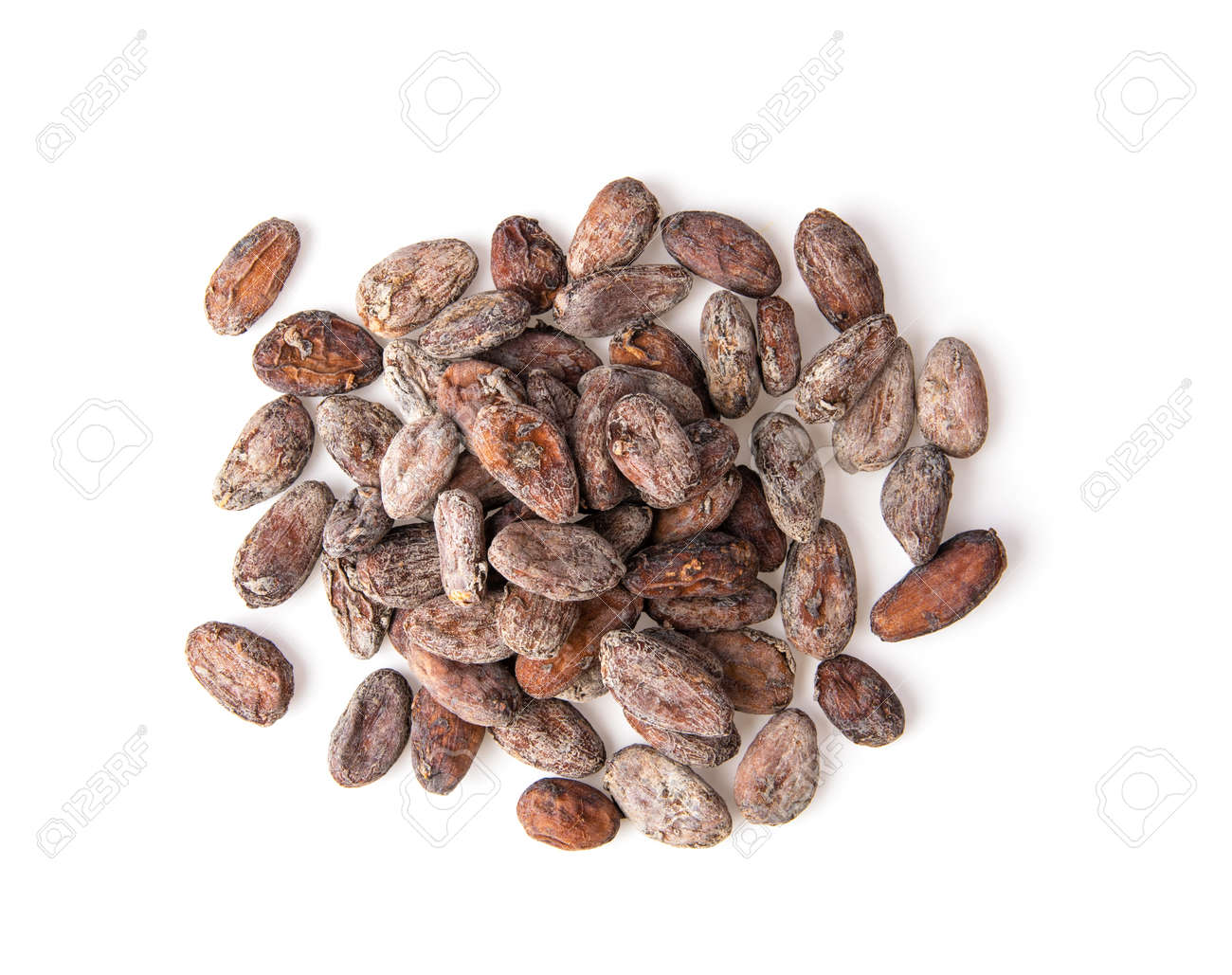 Pile of cocoa beans isolated on white background - 110849043