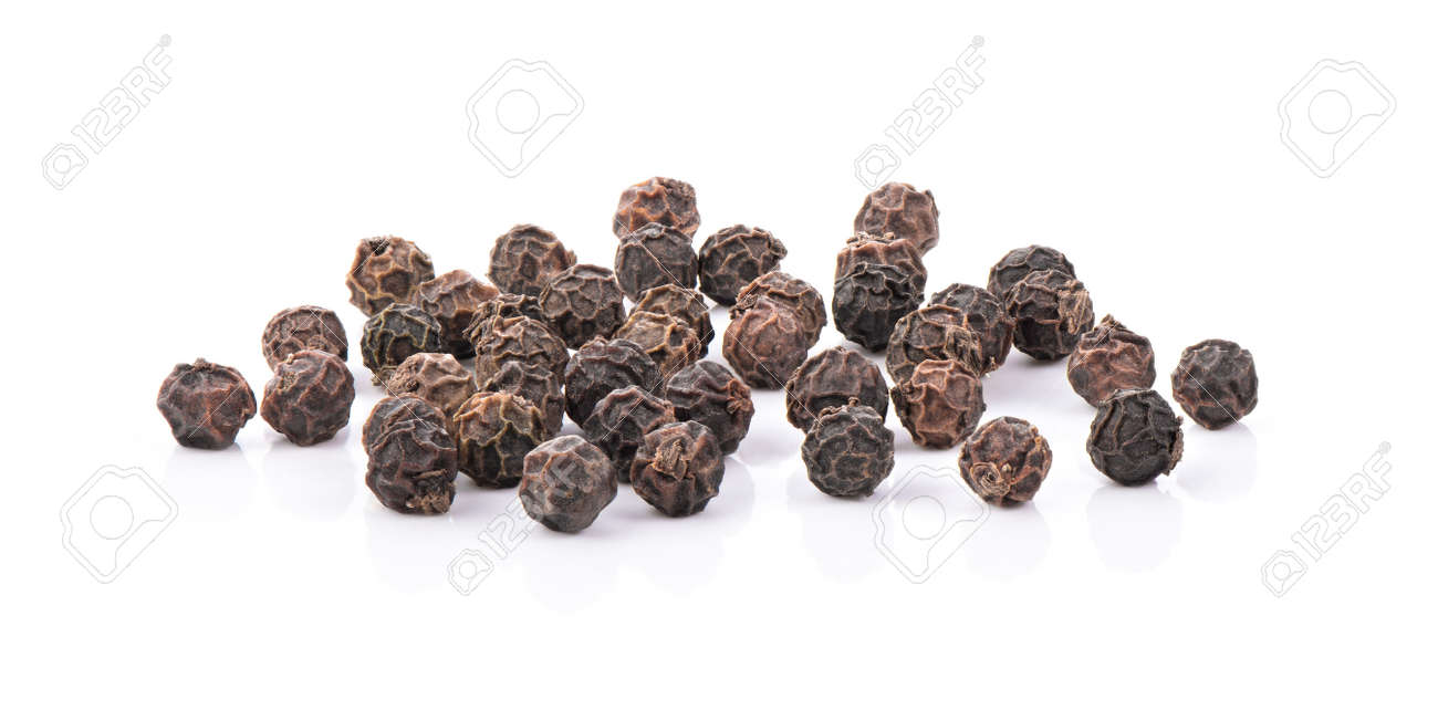 Black Peppercorns isolated on white background - 119138834