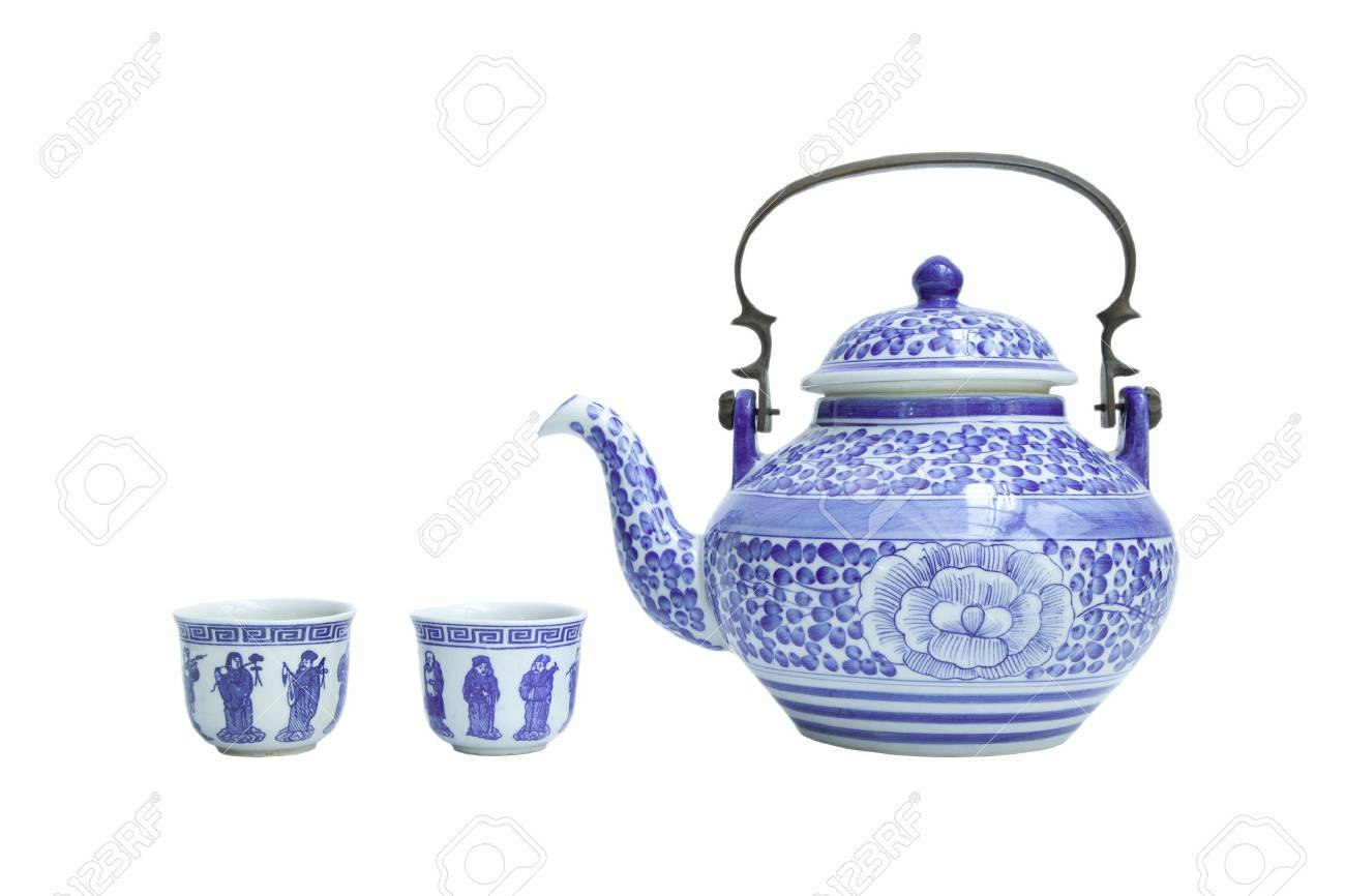 Chinese tea sets isolated on white - 18543730