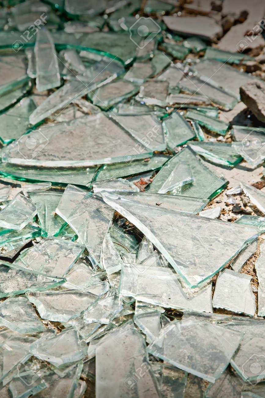 Broken Mirror Glass Shards Spread On The Floor Stock Photo, Picture ...