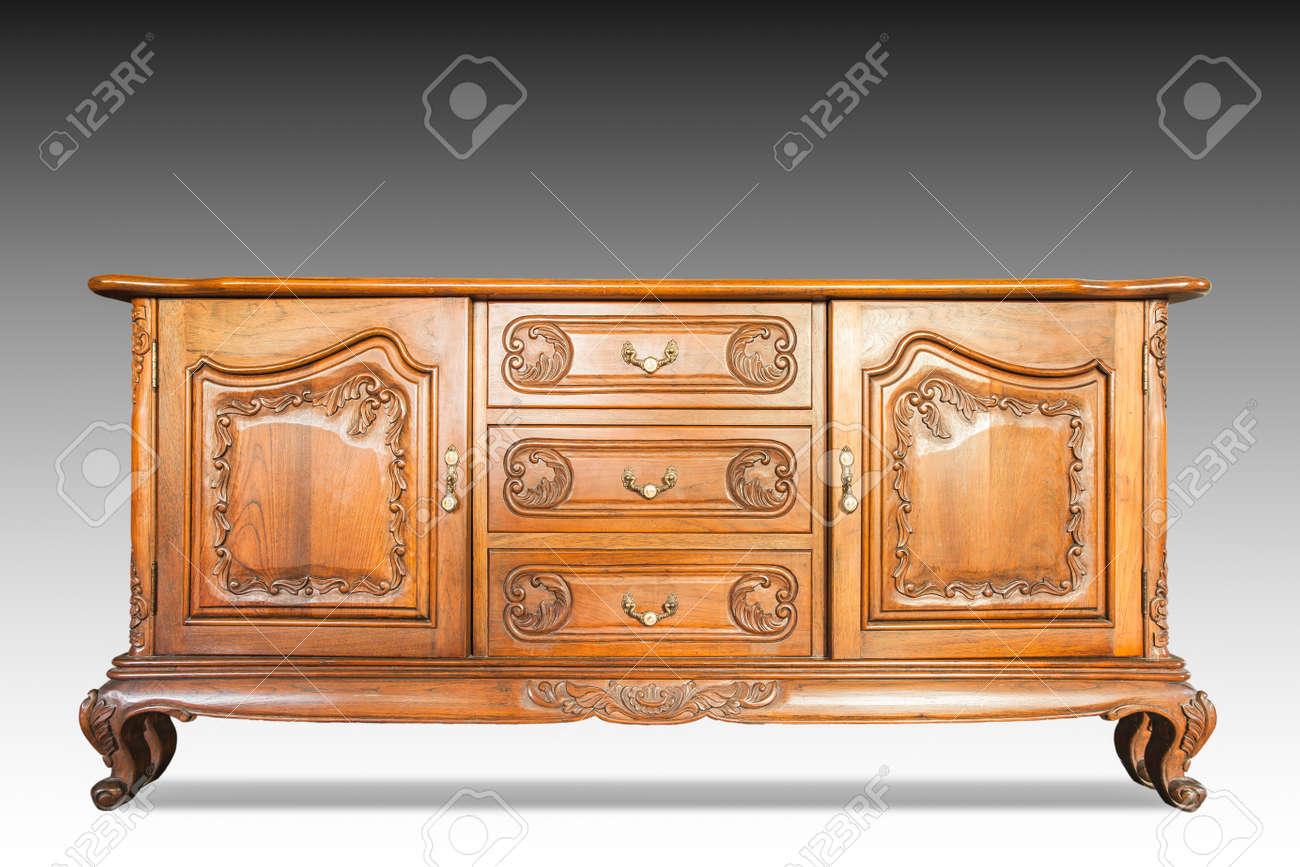 Antiker Schrank Holz Isoliert Auf Weiß Lizenzfreie Fotos Bilder Und