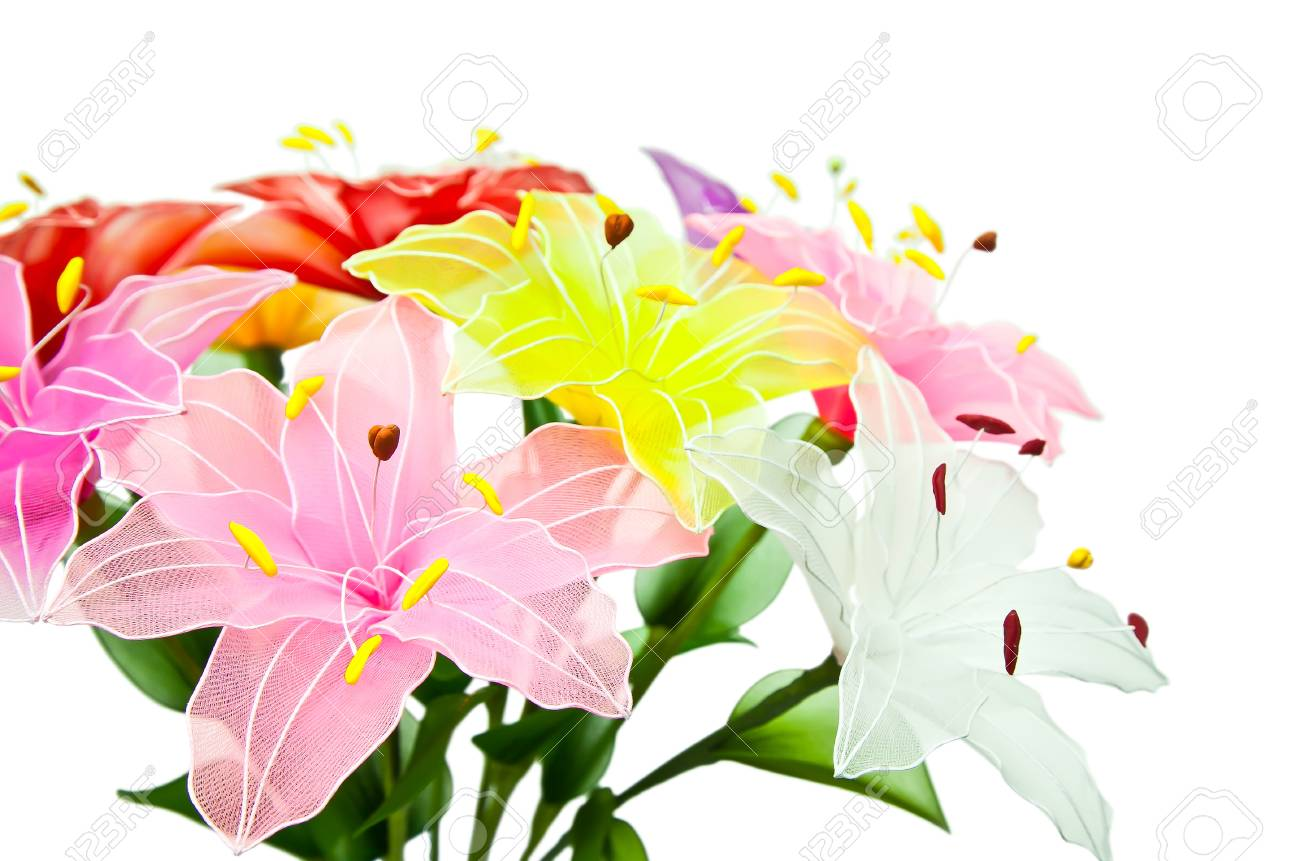 Lily Artificial Flowers Isolated On White Stock Photo Picture And